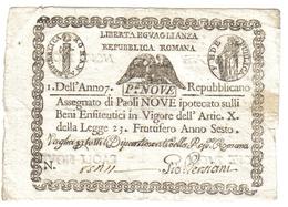 PONTIFICIO REPUBBLICA ROMANA ASSEGNATI 9 PAOLI 1798 ANNO 7° BB/SPL LOTTO 677 - Unclassified