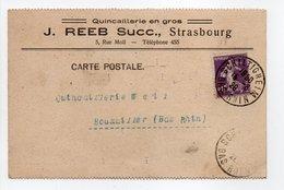 - Carte Postale QUINCAILLERIE J. REEB, SCHILTIGHEIM Pour BOUXWILLER (Bas-Rhin) 15.6.1928 - A ETUDIER - - Cartas