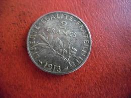 FRANCE 2 FRANCS SEMEUSE ARGENT 1913 Faible Tirage @ état TB+ @ 27 Mm Pour 10 Grammes - I. 2 Francs