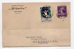 - Carte Postale SOCIÉTÉ ALSATIA, COLMAR (Haut-Rhin) Pour BOUXWILLER (Bas-Rhin) 13.12.1928 - Vignette Antituberculeux - - Erinnofilie