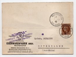 - Carte Postale FABRIQUE DE FERRONNERIE SOMECA, REICHSHOFEN Pour BOUXWILLER (Bas-Rhin) 11.12.1946 - A ETUDIER - - France