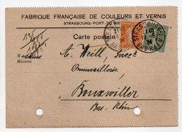 - Carte Postale FABRIQUE DE COULEURS ET VERNIS, STRASBOURG Pour BOUXWILLER (Bas-Rhin) 19.5.1924 - A ETUDIER - - France