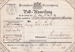 BRAUNSCHWEIG  1866 POST ANWEISUNG DE HOLZMINDEN - Brunswick