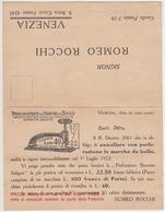 Cartolina Pubblicitaria Romeo Rocchi Venezia - Pubblicitari
