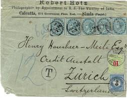 1891, Blau + Grüne Poertomarken, Brief Aus Indien   #a471 - Portomarken
