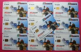 Serie 00102-0,1,2,5 Italian Army Kosovo Lot 10 Chip CARD 10 Euro Used Operator TELECOM ITALIA *Tank Soldiers Satellite* - Kosovo