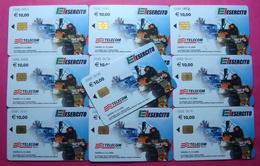 Serie 00085-5 Italian Army In Kosovo Lot 10 Chip Ph. CARD 10 Euro Used Operator TELECOM ITALIA *Tank Soldiers Satellite* - Kosovo