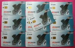Serie 00089-27..., Italian Army In Kosovo Lot 10 Chip Phone CARD 10 Euro Used Operator TELECOM ITALIA *Eagle Flying* - Kosovo
