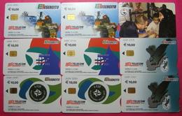 Italian Army In Kosovo Lot 9 Different Chip Phone CARDs 10 Euro Used Operator TELECOM ITALIA - Kosovo