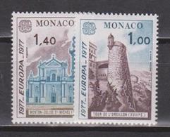 Monaco, 1977, Europa CEPT, Buildings, 2 Stamps - 1977