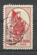 DENMARK 1942 Nordisk Good Templar Orden Temple Order Poster Stamp Vignette O - Erinnofilia