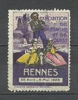 FRANCE 1928 Foire Exposition De Bretagne Et De Suest Rennes Poster Stamp Vignette * - Erinnofilia