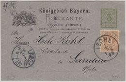 Österreich - 2 Kr. Adler Bayer. Ganzsache Ischl - Landau/Pfalz 1890 - 1850-1918 Empire