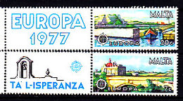 Malta, 1977, Europa CEPT, Landscapes, 2 Stamps With Labels - 1977
