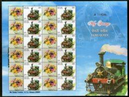 India 2014 Fairy Queen Steam Locomotive Railway My Stamp Sheetlet MNH # 22 - Trains