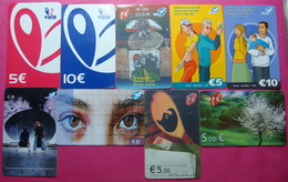 Kosovo Lot Of 9 Different Prepaid And CHIP Phone CARDS 5 To 23,52 Euro Used Operator VALA900 (Alcatel) - Kosovo