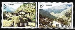 Andorra Spanish, 1977, Europa CEPT, Landscapes, 2 Stamps - 1977