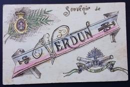 Carte De Franchise Militaire Peinte à La Main SOUVENIR DE VERDUN OUVRAGE DE CHARNY 1917 Croix De Lorraine - Storia Postale