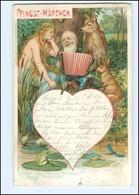 Y13174/ Pfingsten Zwerg Spielt Akkordeon, Nixe, Reh   Litho AK 1898 - Pentecôte