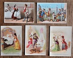 5 Cartons Publicitaires EPICERIE EN GROS - MISEREY à Dreux : La Belle Au Bois Dormant / Scènes De Théâtre (Favart, Fritz - Otros
