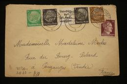 Lettre Avec Correspondance Interné Guerre Weissenfels 22/6/43 Timbres Publicité Censure - Covers & Documents