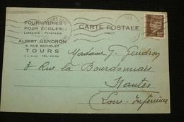 CP N°512 Pétain 80c Seul 9/12/41 Tours Albert Gendron - Marcofilie (Brieven)