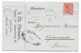DANMARK - 1918 - CARTE COMMERCIALE De COPENHAGUE Avec CENSURE FRANCAISE => OYONNAX - 1913-47 (Christian X)
