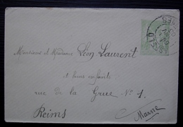 Asfeld (Ardennes) 1903  Petite Enveloppe Entier Postal Pour Reims - Marcophilie (Lettres)