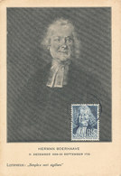 D37620 CARTE MAXIMUM CARD RR 1938 NETHERLANDS - PHYSICIAN HERMAN BOERHAAVE CHEMIST BOTANIST CP ORIGINAL - Cartoline Maximum