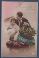 = Carte Postale Couple, Bouquet De Fleurs, Boule De Gui, Heureuse Année - New Year