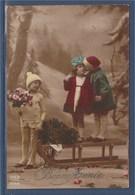 = Carte Postale Enfants, Bouquet De Fleurs, Boule De Gui, Bonne Année Le 01 01 1920 - New Year
