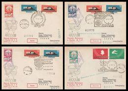 Zawody Balonowe (POZNAN 25. VI. 1961) Vignettes > SYRENA , POZNAN, WARSZAWA, KATOWICE (Lot LE 21) - Poste Aérienne