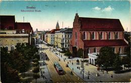 Poland, Wroclaw, Breslau, Schweidnitzer Strasse, Street Scene With Tram,Old Postcard - Polonia