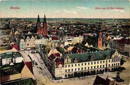 Poland, Wroclaw, Breslau, View, Blick Vom St. Elisabethturm,Old Postcard - Polonia