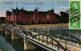 Poland, Wroclaw, Breslau, Bridge With Tram, Regterung Mit Lessingbrücke,Old Postcard - Polonia