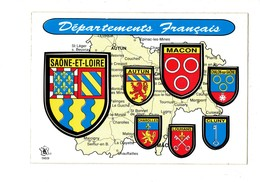 Cpm Autocollant 71 Saone Et Loire AUTUN MACON CHALON S/s CHAROLLES LOUHANS CLUNY Blason - Kroma 969 - Other Municipalities