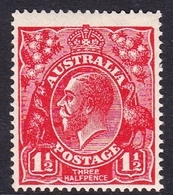 Australia SG 77 1924 King George V,three Half Penny Scarlet,Single Watermark, Mint Hinged - 1913-36 George V: Heads