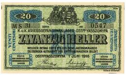 20 HELLER PRIGIONIERI DI GUERRA OSTFFYASSZONYFA AUSTRO-UNGARICO 01/06/1916 FDS - [ 1] …-1946 : Kingdom