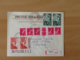 Enveloppe Philatelic Club De Belgique. Aangetekende Zending Van Elsene Naar Etterbeek 23-11-54. Nr.952+953+KT22 - Lettres & Documents
