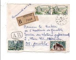 AFFRANCHISSEMENT COMPOSE SUR LETTRE RECOMMANDEE AR DE QUISSAC GARD 1966 - Marcophilie (Lettres)