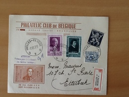 Enveloppe Philatelic Club De Belgique.Aangetekende  Zending Van Elsene Naar Etterbeek. 5-12-52. - Lettres & Documents