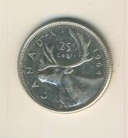 Canada 25 Cents 1964, Silber,  Elisabeth II. --  Segelschiff Canada   (70) - Canada