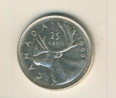 Canada 25 Cents 1965, Silber,  Elisabeth II. --  Segelschiff Canada   (71) - Canada