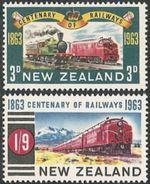 New Zealand,  Scott 2017 # 362-363,  Issued 1963,  Set Of 2,  MNH,  Cat $ 2.65,  Trains - New Zealand