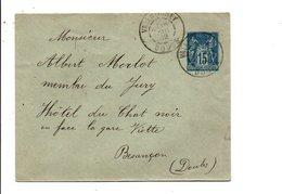 SAGE SUR LETTRE DE VALENTIGNEY DOUBS DU 16/8/1902 - Marcofilia (sobres)