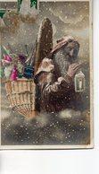 Vraie Photo Colorisée : Très Beau  Père Noël Avec Sa Hotte - Santa Claus