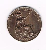 // GREAT BRITAIN  FARTHING  1918 GEORGE V - 1902-1971: Postviktorianische Münzen