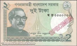 TWN - BANGLADESH 52g-S - 2 Taka 2018 Specimen - 0000000 UNC - Bangladesh