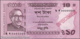 TWN - BANGLADESH 54g-S - 10 Taka 2018 Specimen - 0000000 UNC - Bangladesh