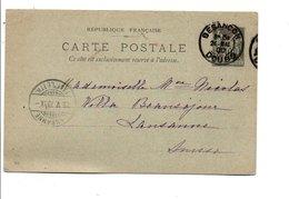 ENTIER SAGE DE BESANCON DU 24/5/1900 - Marcofilia (sobres)
